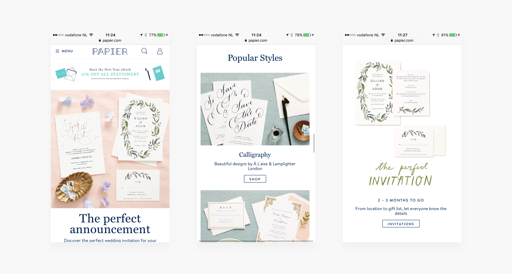 Mobile ecommerce landing page
