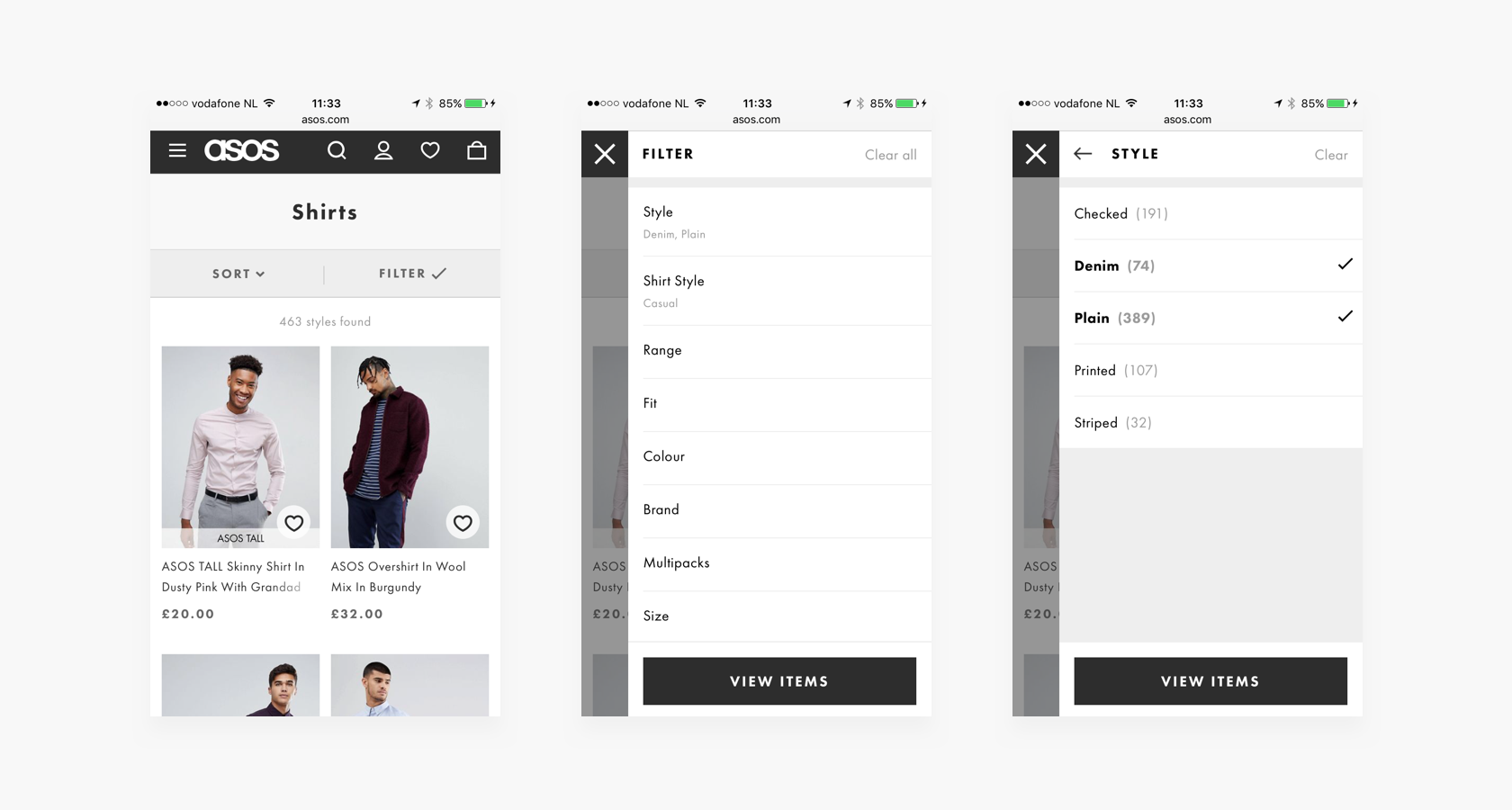 Mobile ecommerce filtering