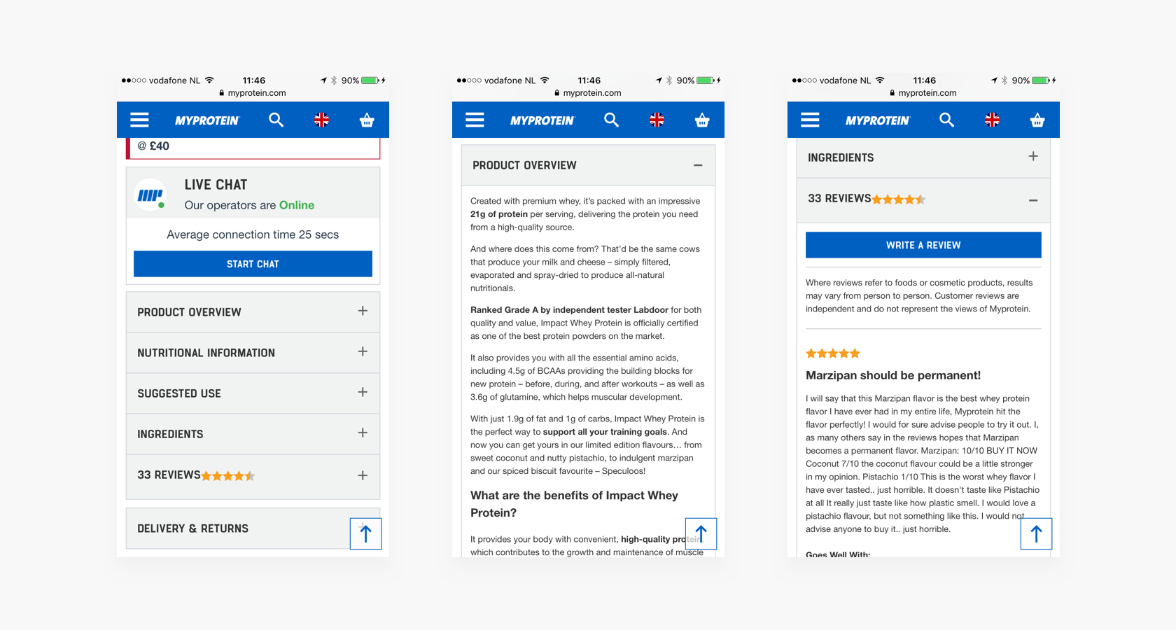 mobile ecommerce ux - product description