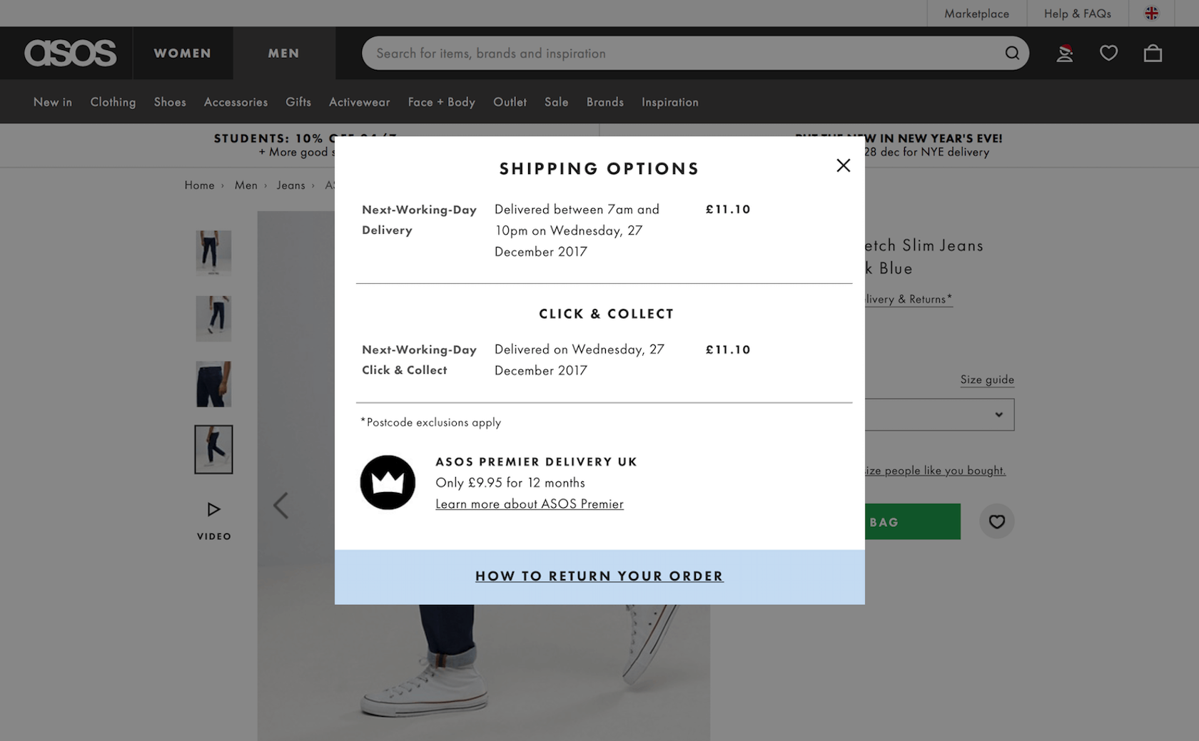 ecommerce ux - shipping and return policy