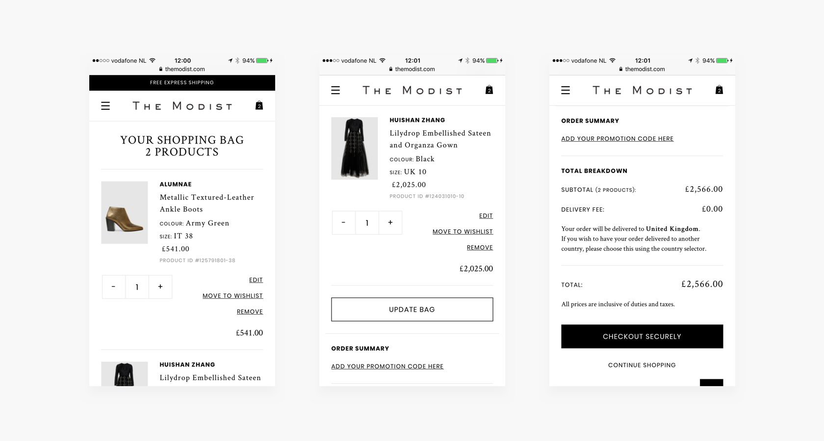 mobile ecommerce ux shopping bag