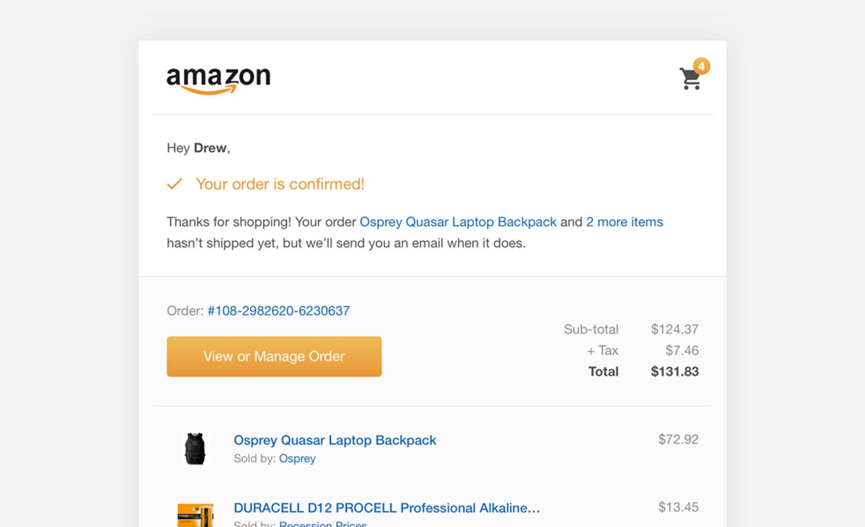 ecommerce ux order confirmation