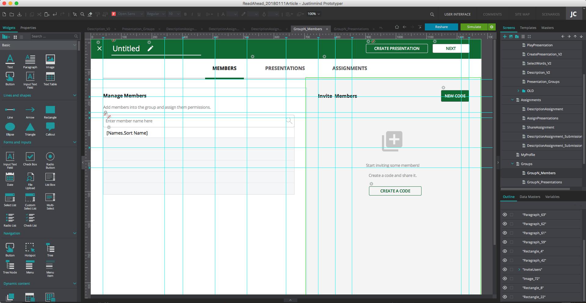 Prototype design in ux prototyping tools