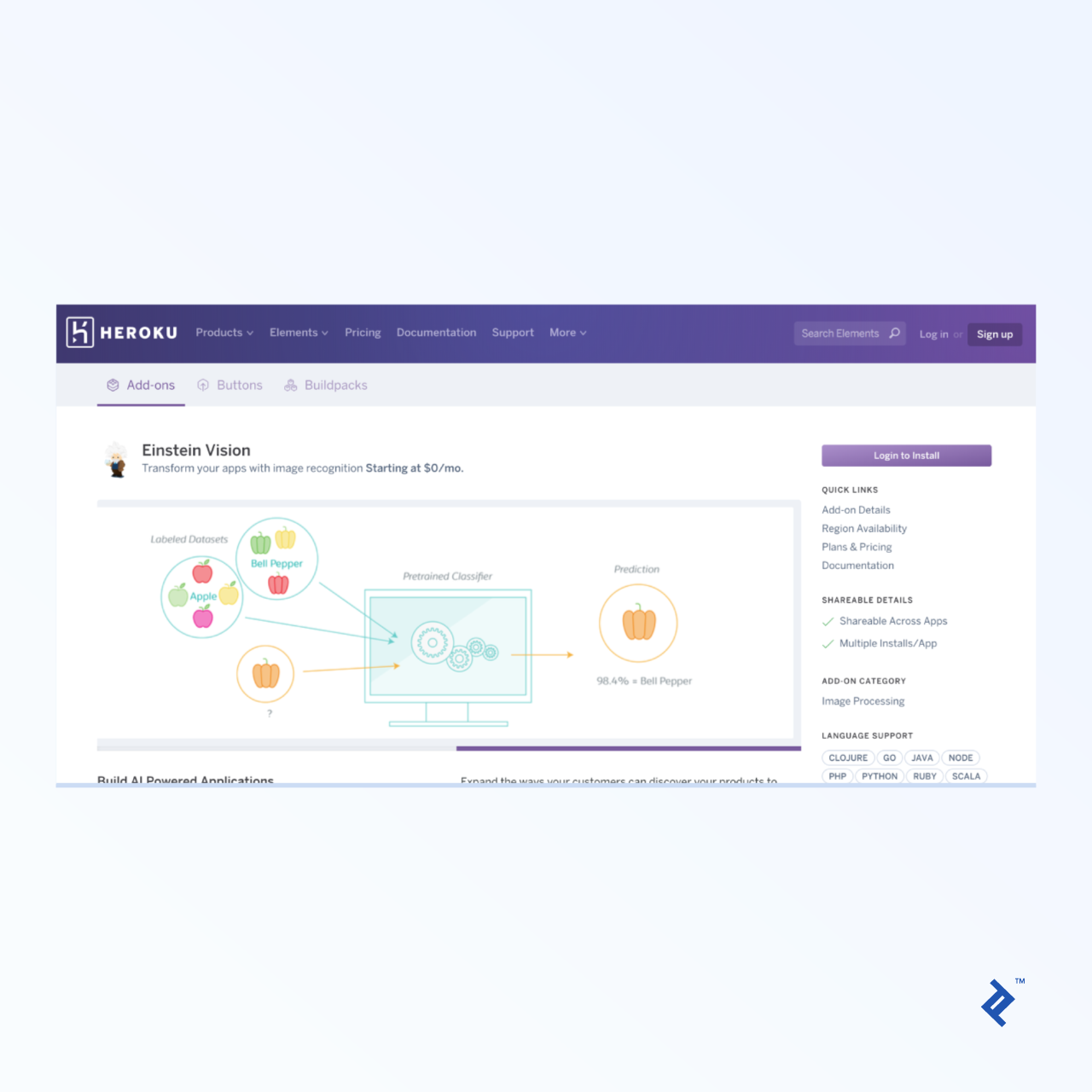 The Heroku Einstein integration page