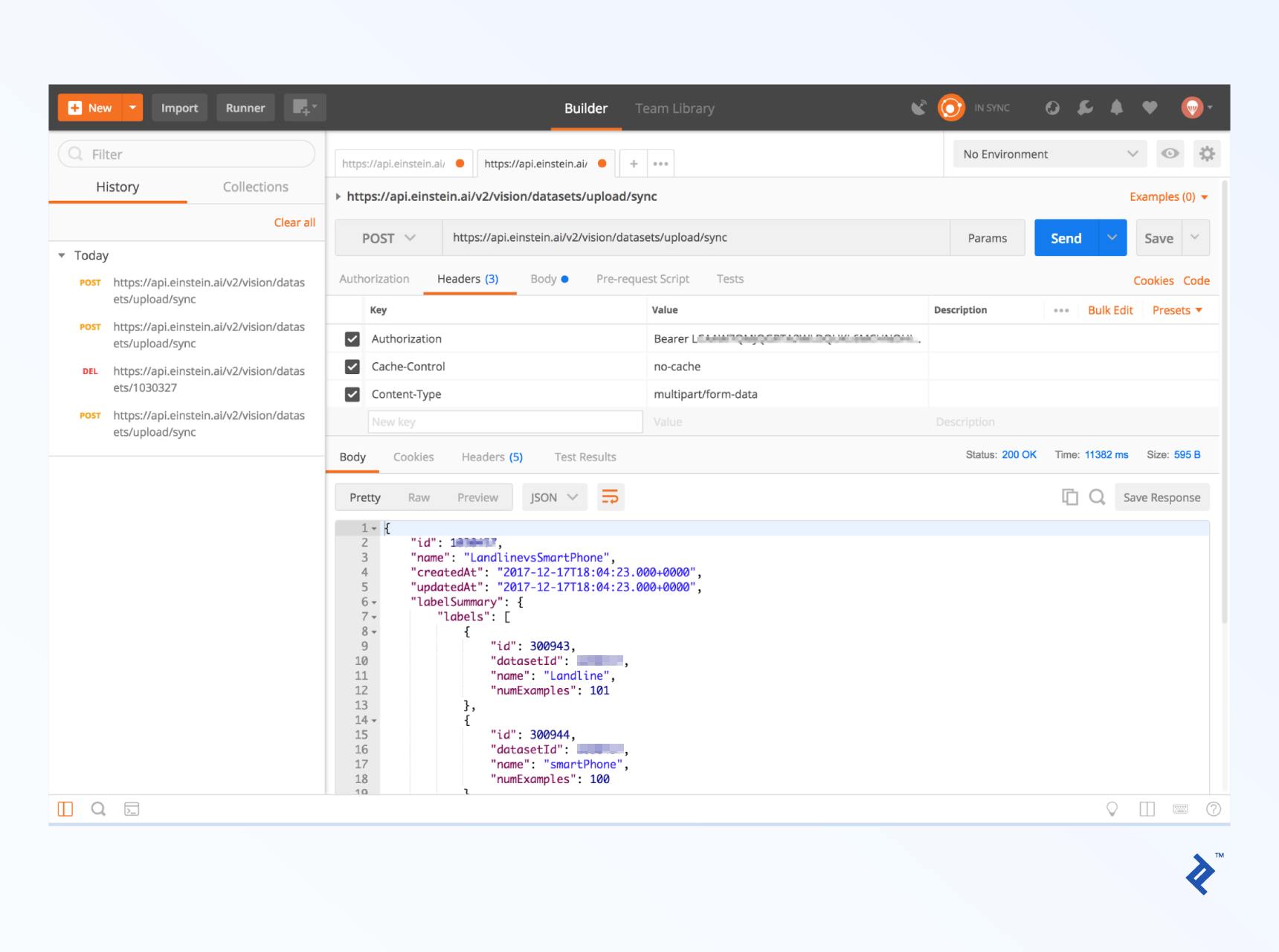 Filling out the headers in Postman.