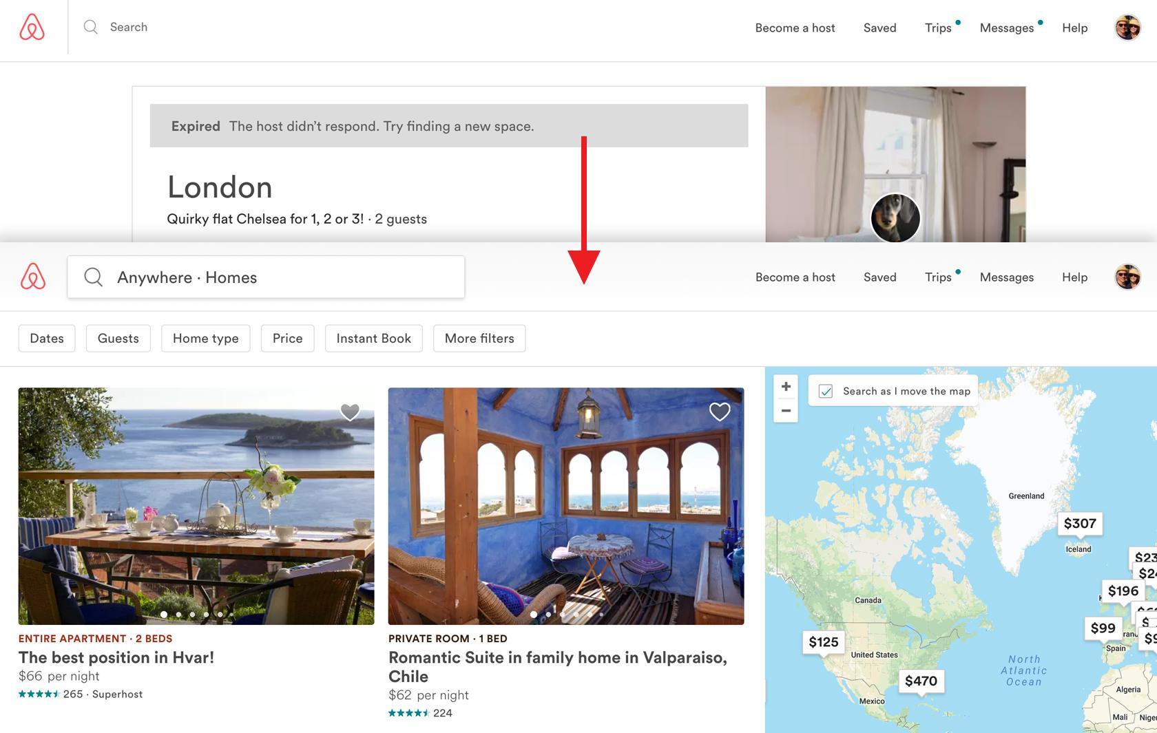 la falta de diseño anticipatorio básico de airbnb