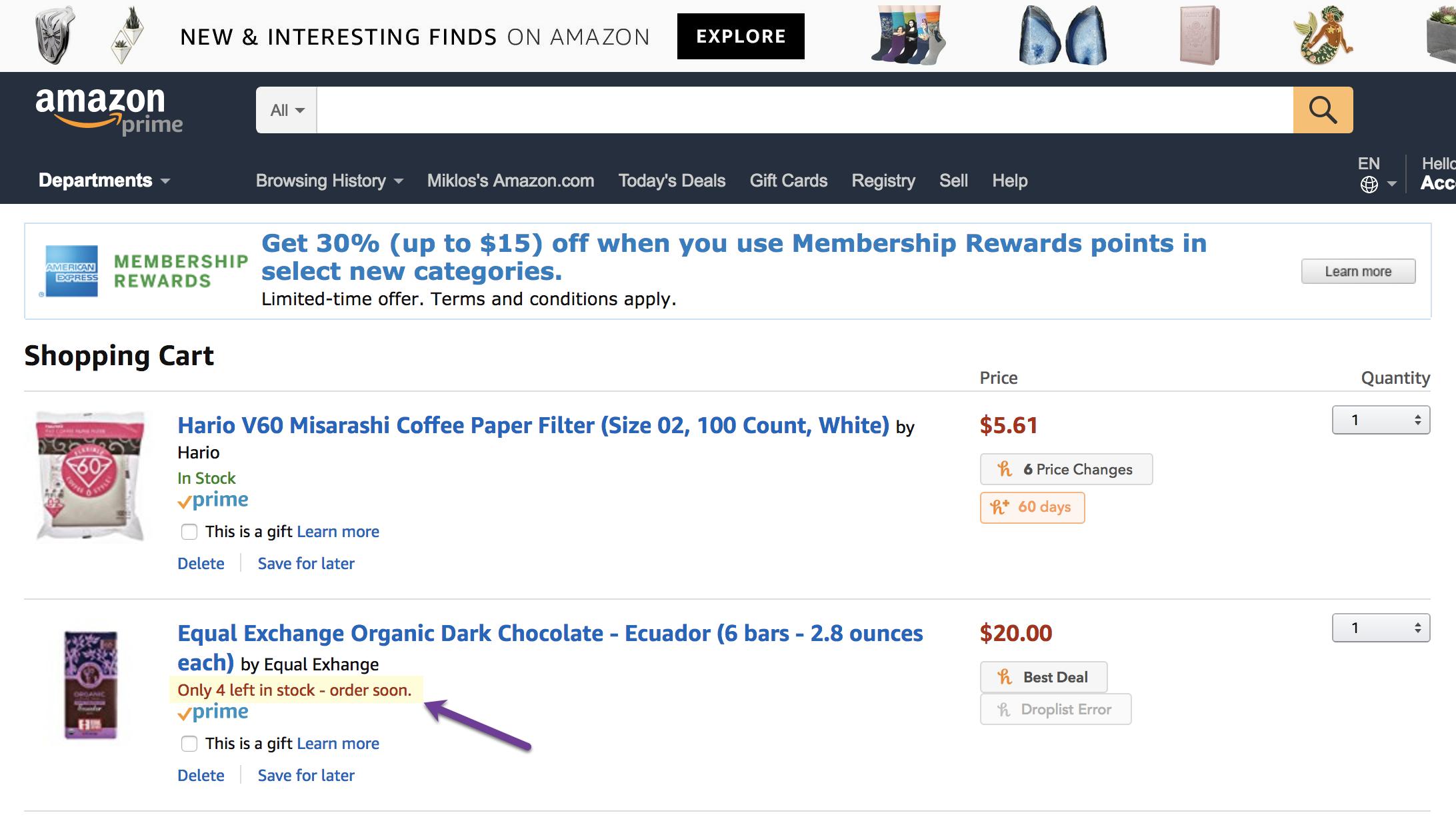 principio de escasez de Amazon ecommerce en acción