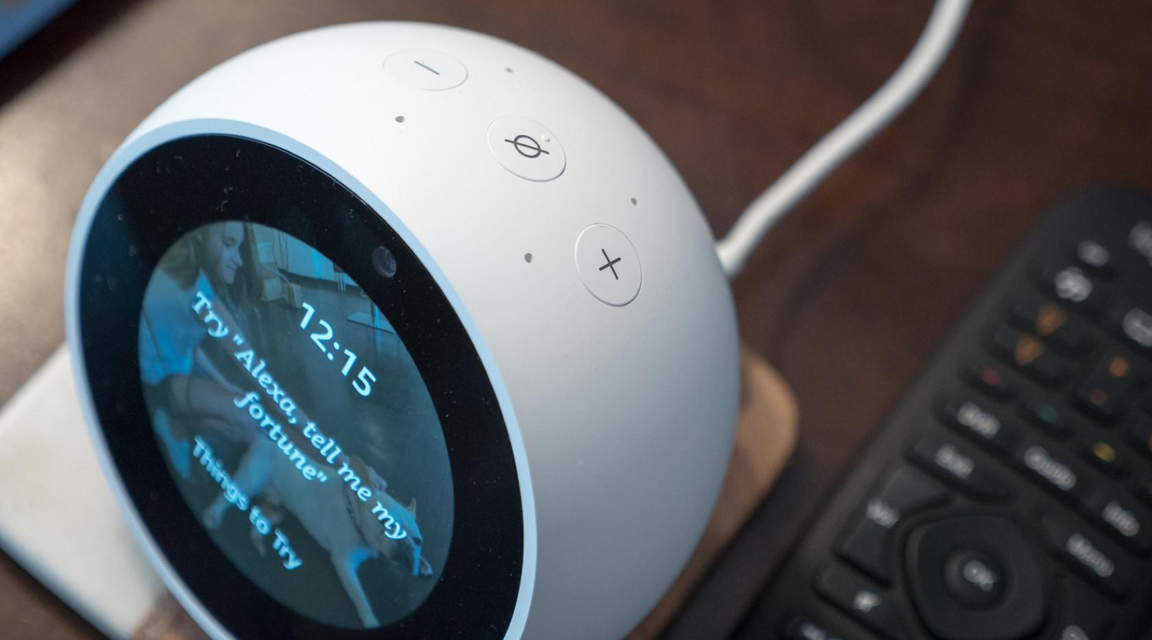 Amazon's Echo Spot smart speaker with a VUI