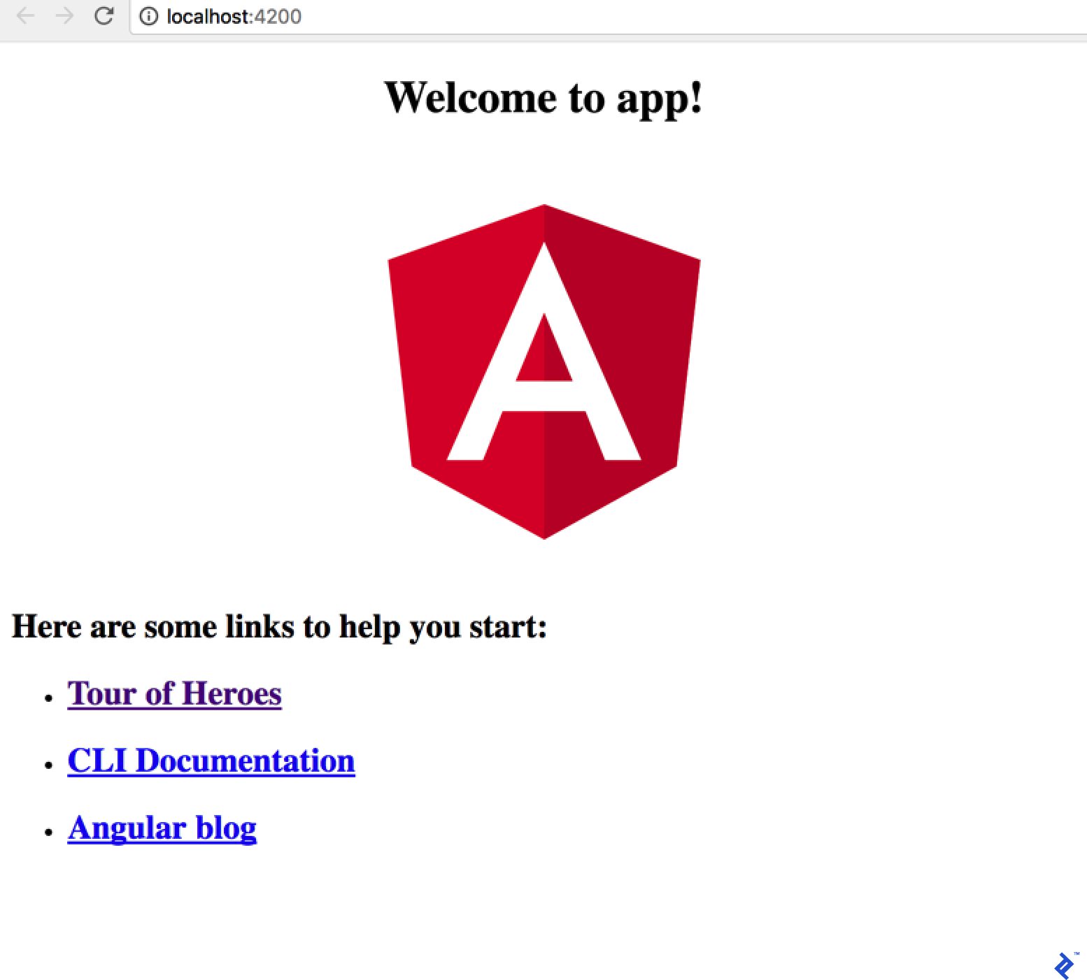 Angular App Welcome Page