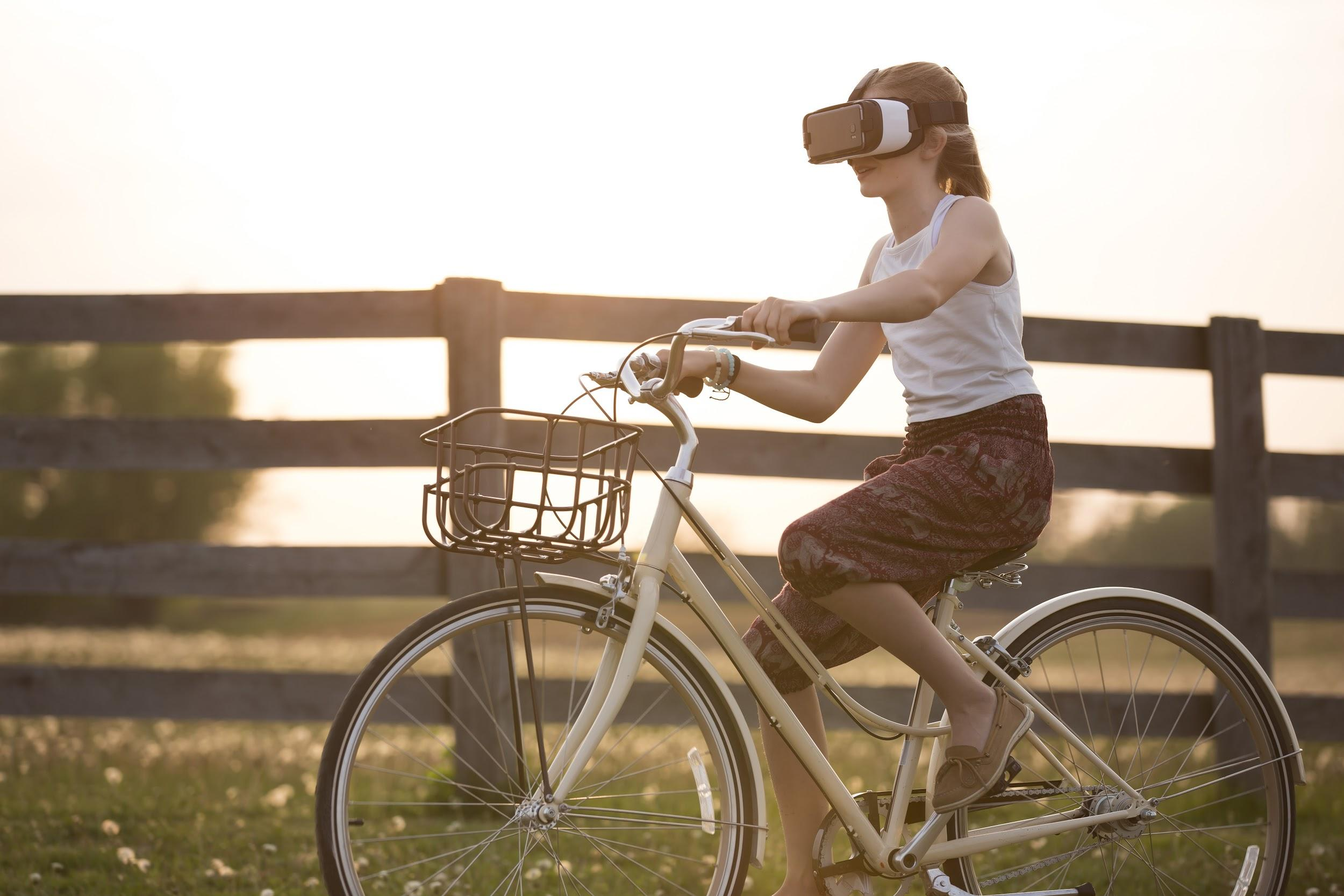 vr headset wearer on a bicycle