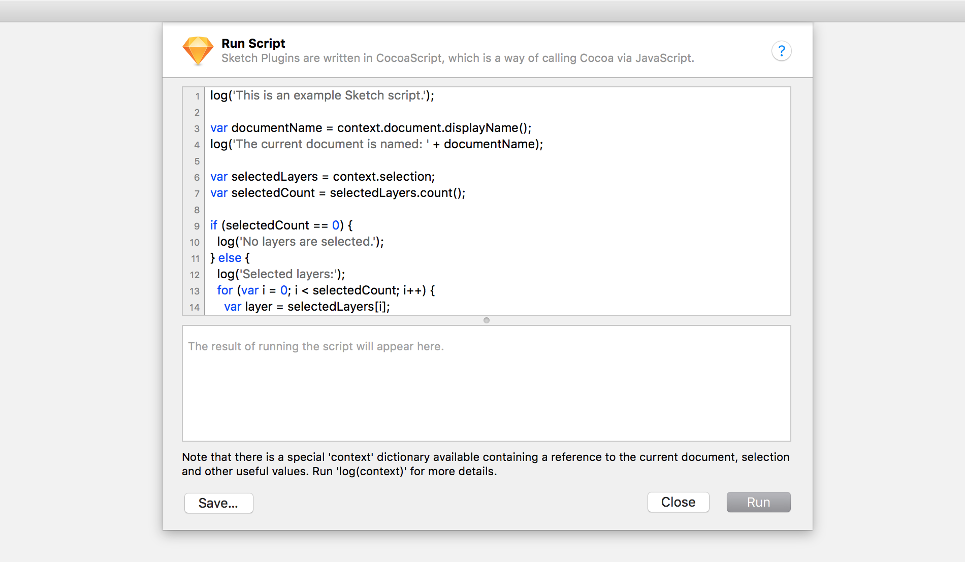 accessing the scripting window in sketch