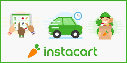 instacart's logo and graphic representation of services