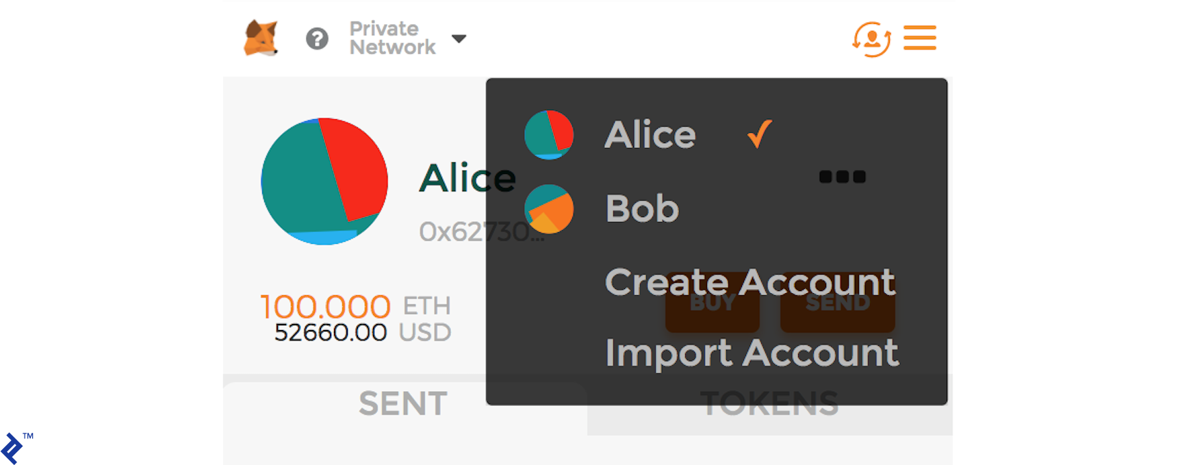 Accounts for Alice and Bob on MetaMask.