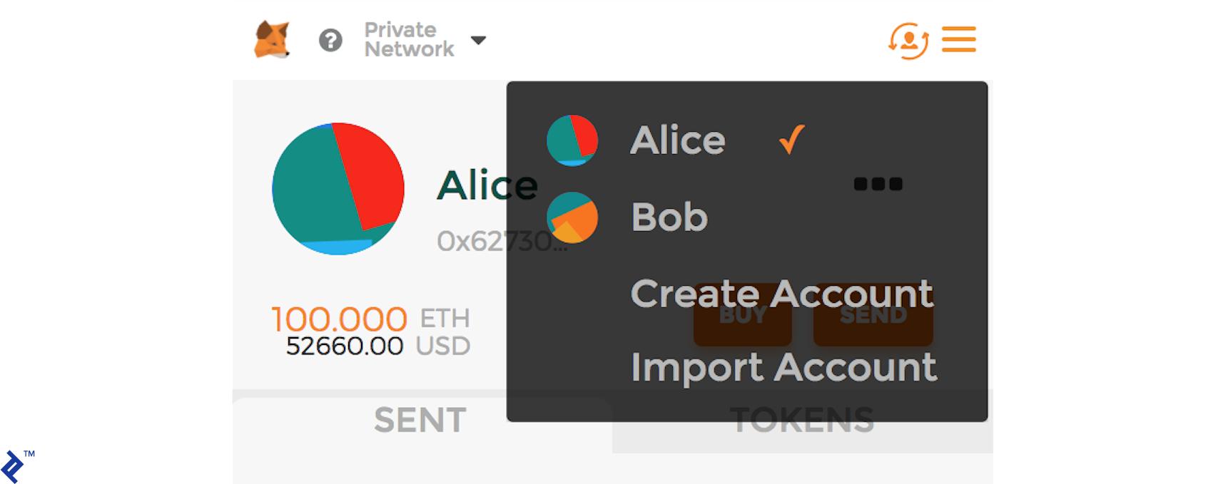 Accounts for Alice and Bob on MetaMask.