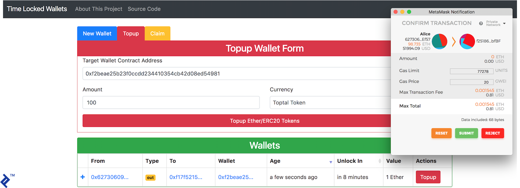 Alice using the Time-Locked Wallets ĐApp to send Bob 100 Toptal Tokens.