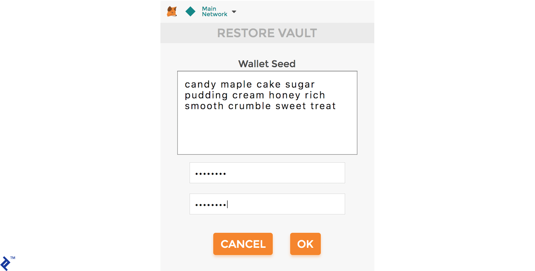 RESTORE VAULT: Using a mnemonic wallet seed to import private and public keys into MetaMask.