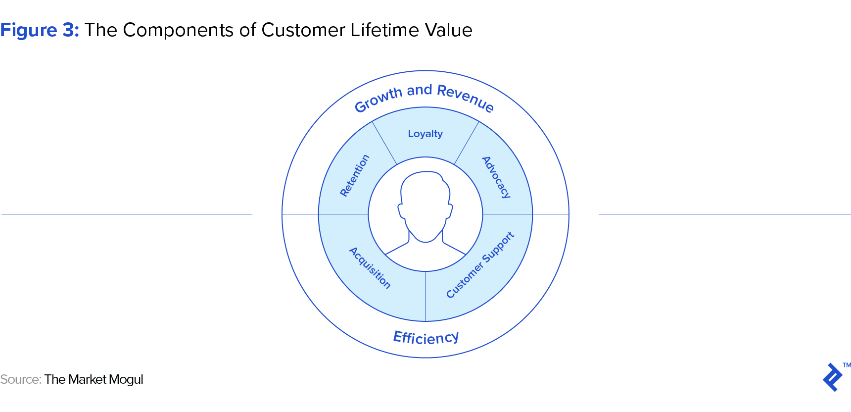 graphic representation of the components of customer lifetime value