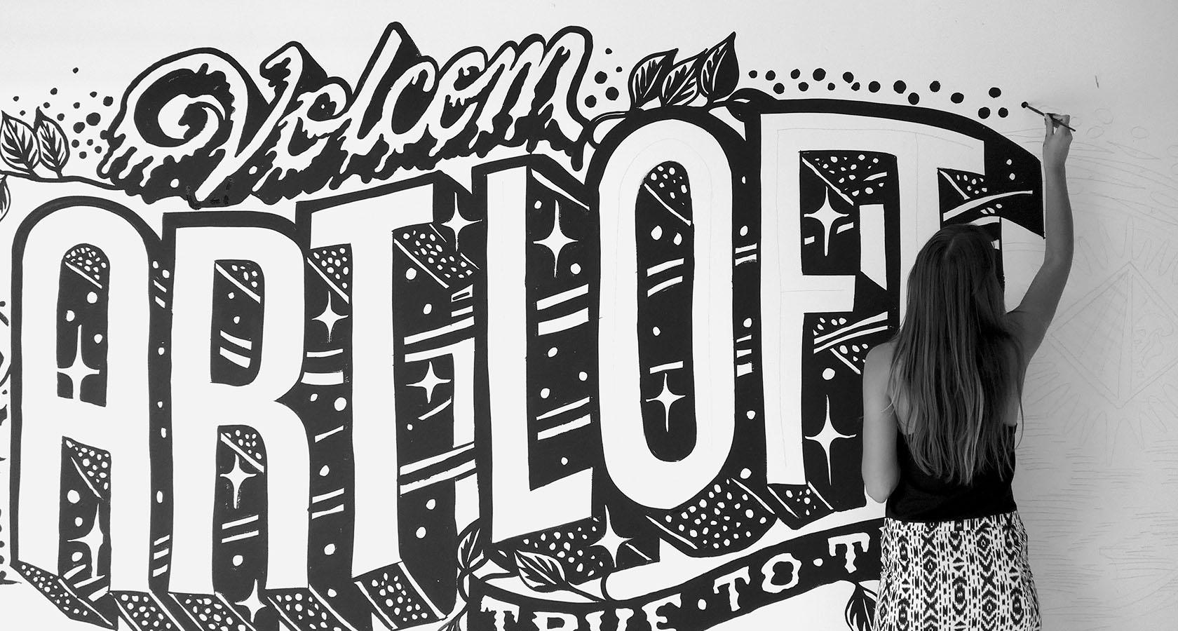 gemma o'brien hand painted volcom artloft mural