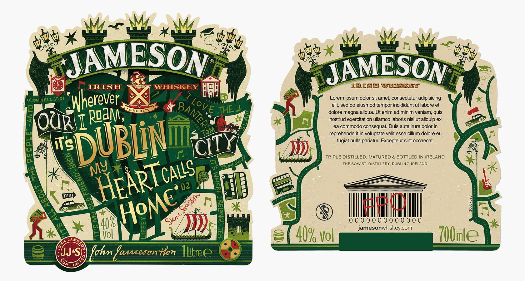 steve simpson - botella de jameson irish whiskey con lettering a mano