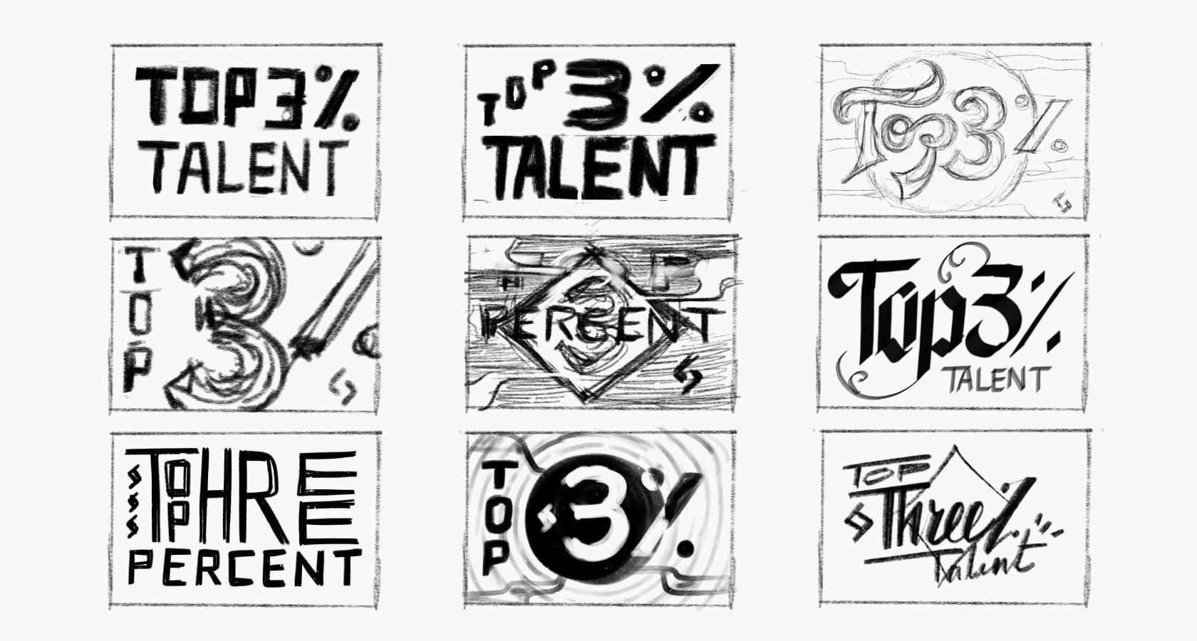 hand drawn lettering thumbnail sketches
