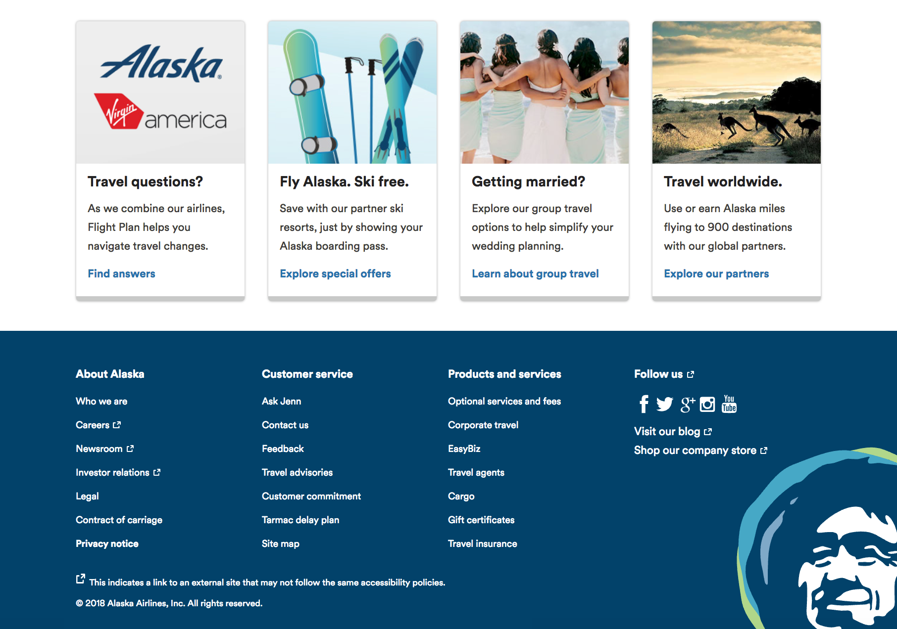 alaska airlines website footer color psychology