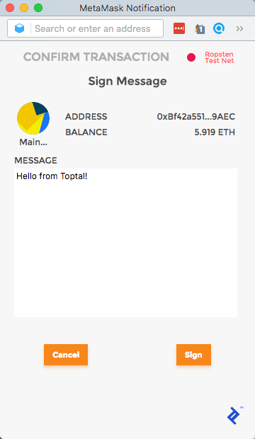 MetaMask confirmation popup