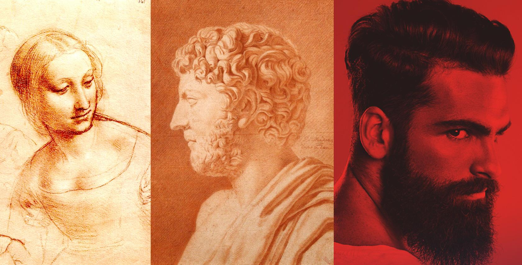 duotone drawings using sanguine - red chalk on paper
