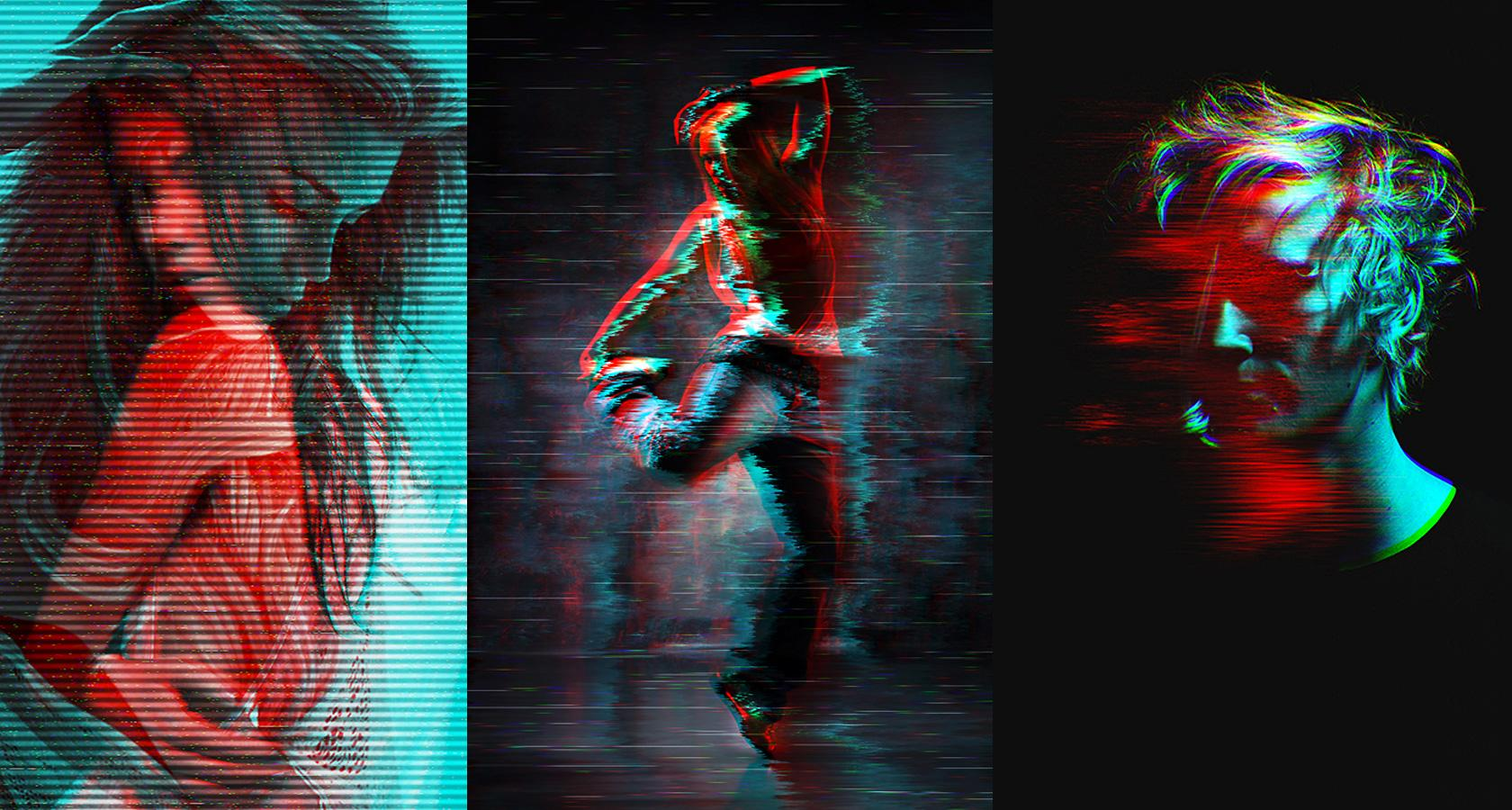 color channel and glitch effect photoshop actions