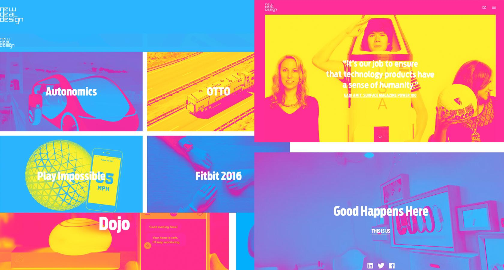 duotone fluorescent effect website design trend