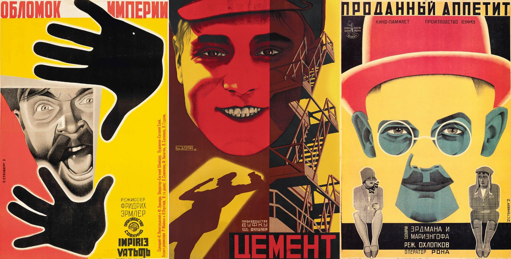 russian propaganda posters with simple geometric shapes, cutouts, and photo masking visual effect
