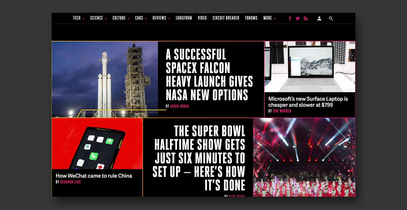 Example of dynamic website design–The Verge