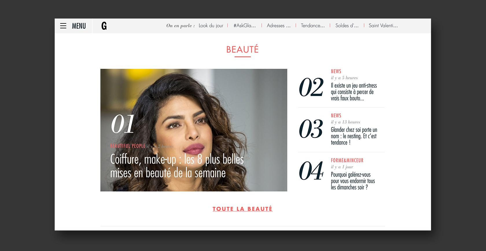 Example of CMS web design–Glamour Paris