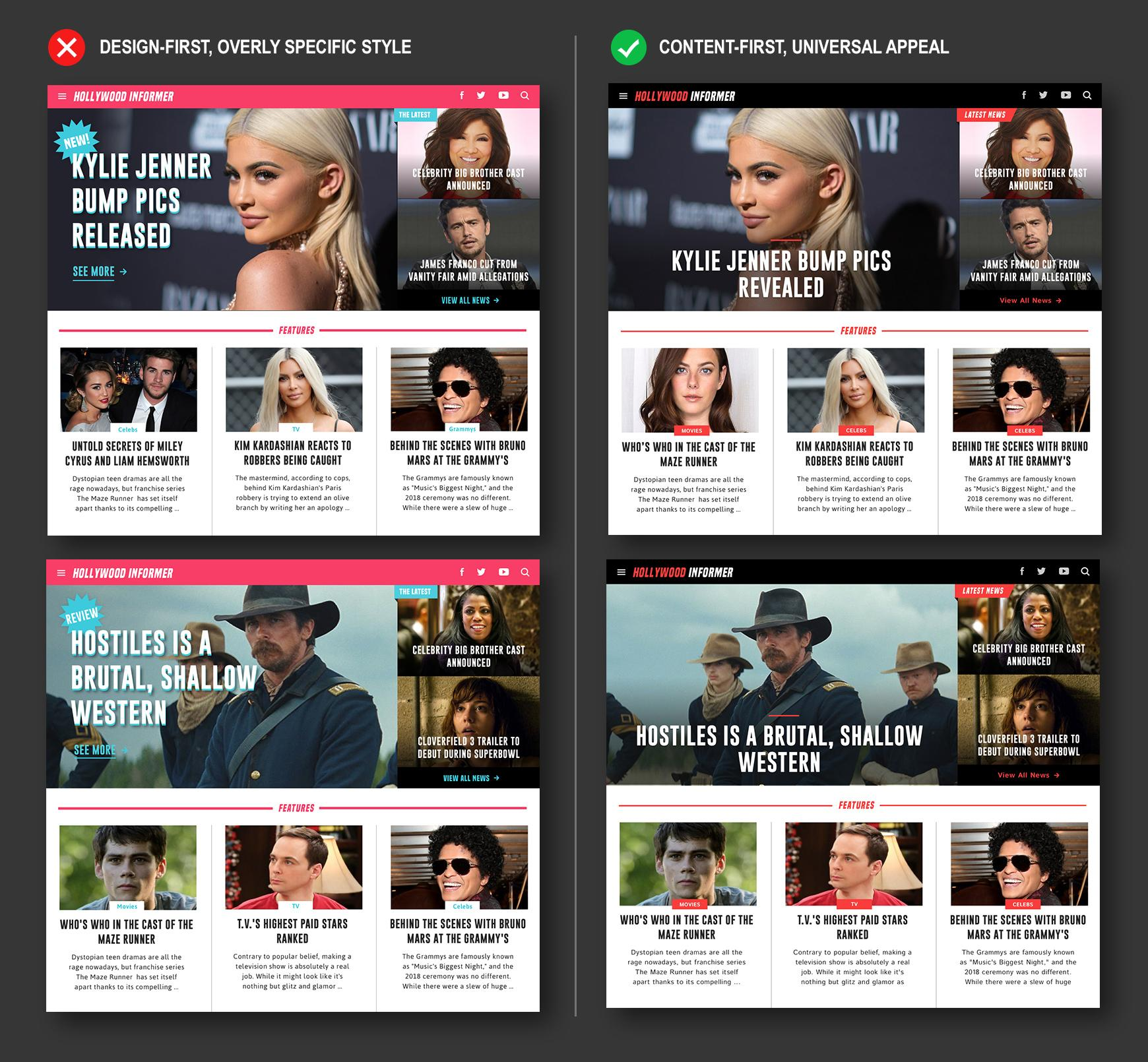 Example home page UI design treatments for dynamic content websites