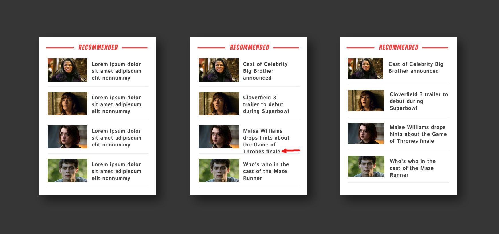 Example widget design with content overflow for a dynamic content website