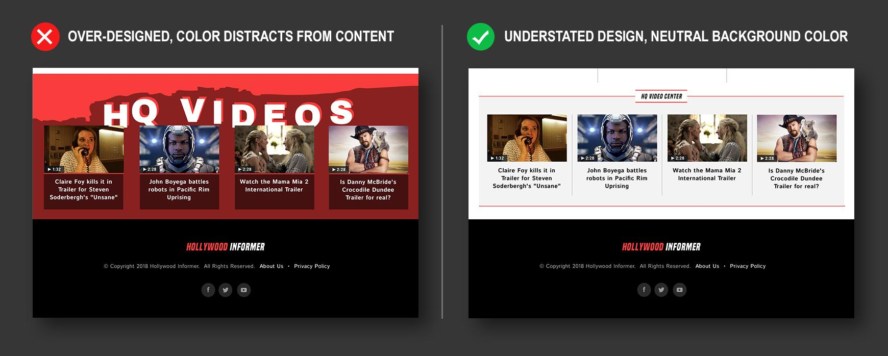 Example footer designs with dynamic content website
