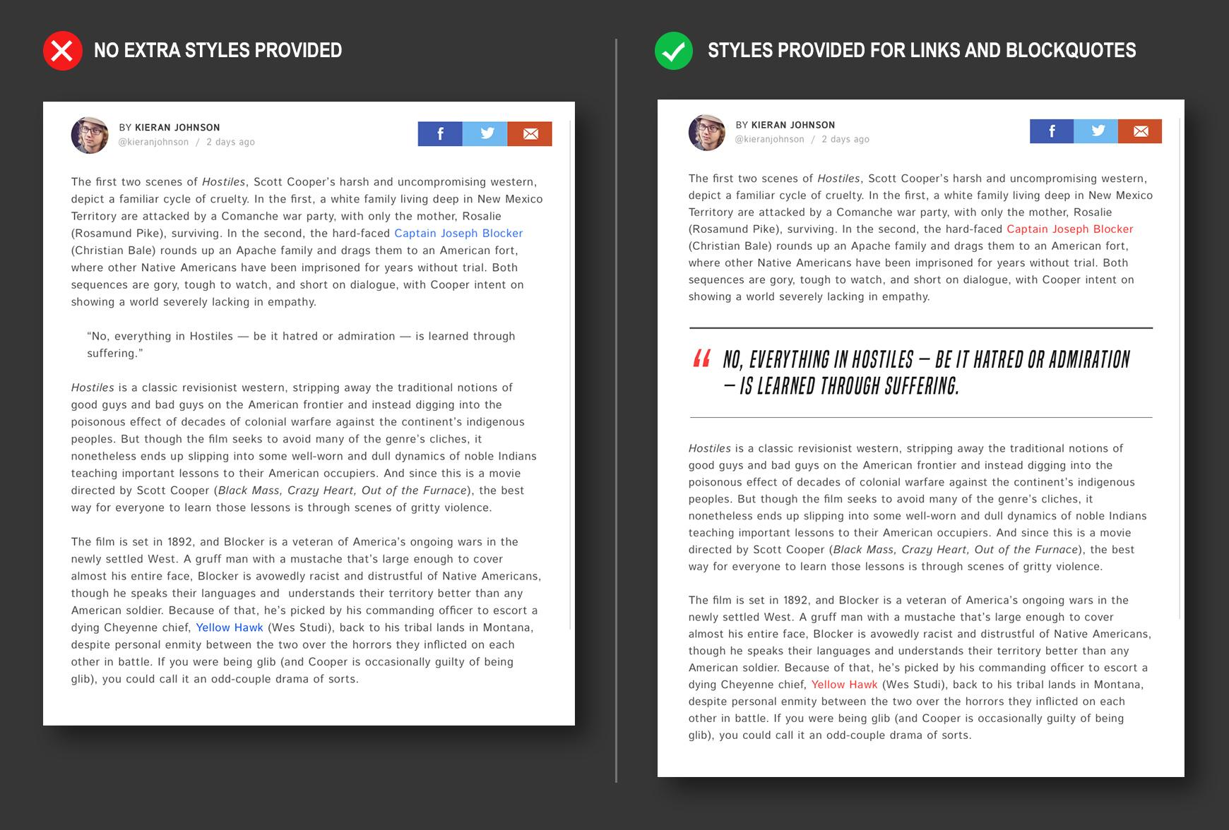 Example post page designs with and without extra styles provided in dynamic website design