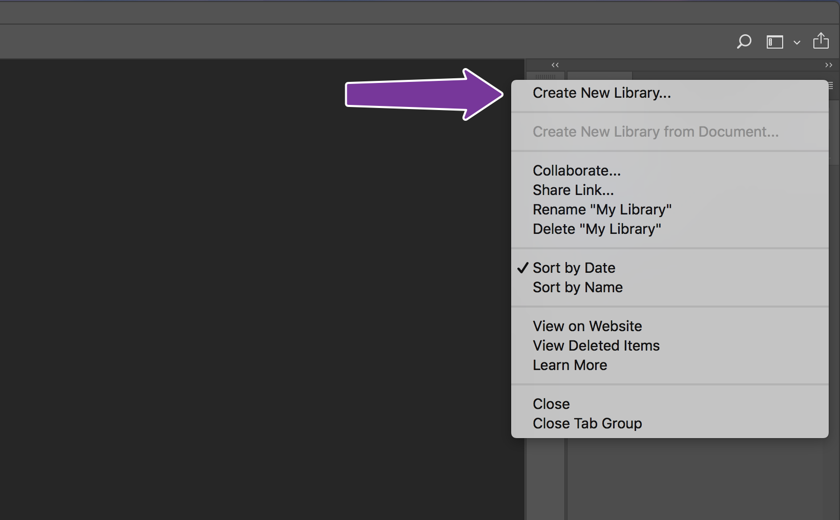 Create a new Adobe CC library.