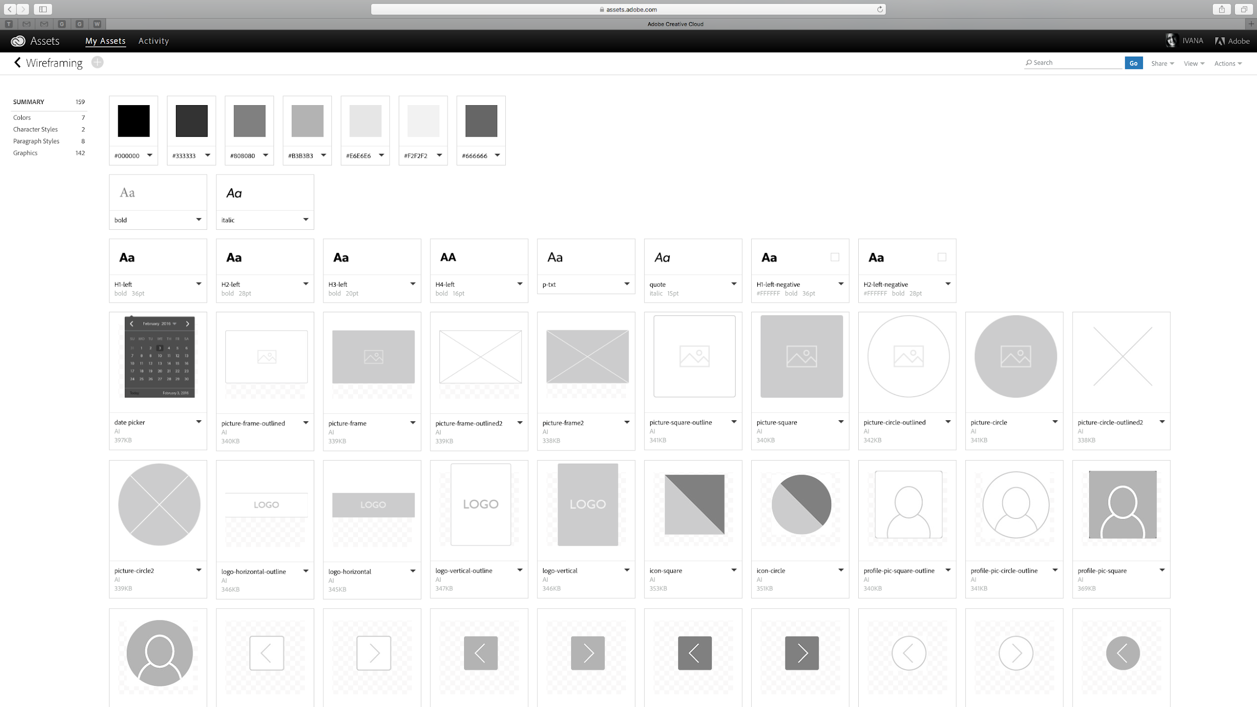 Adobe CC wireframe asset library