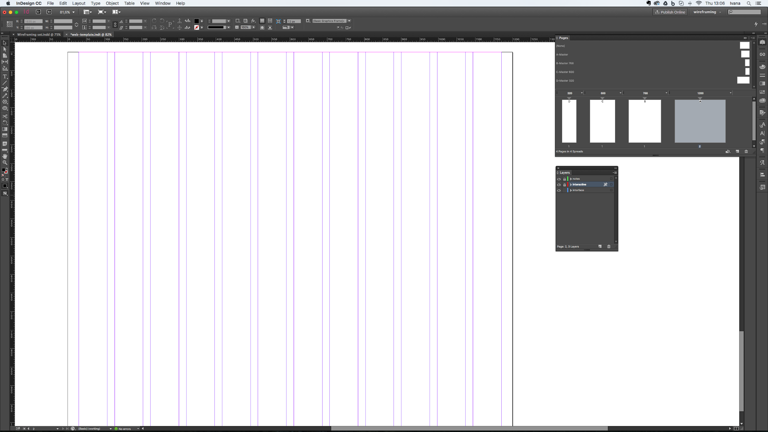 Wireframe template in InDesign