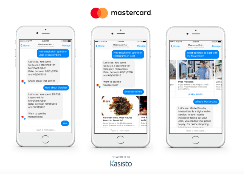 Sample images of MasterCard's chatbot technology in action