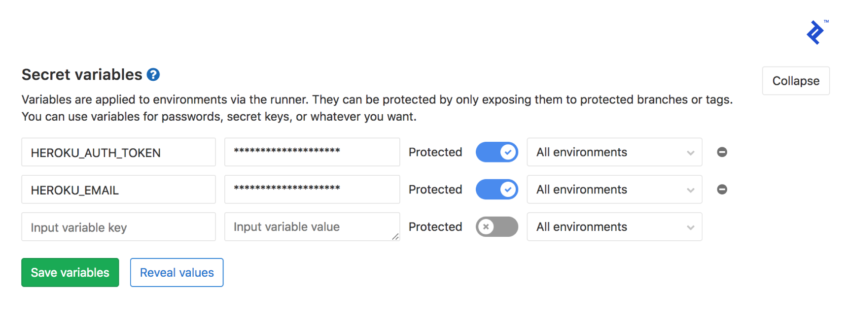 Image of the secret variables in the GitLab CI/CD settings page