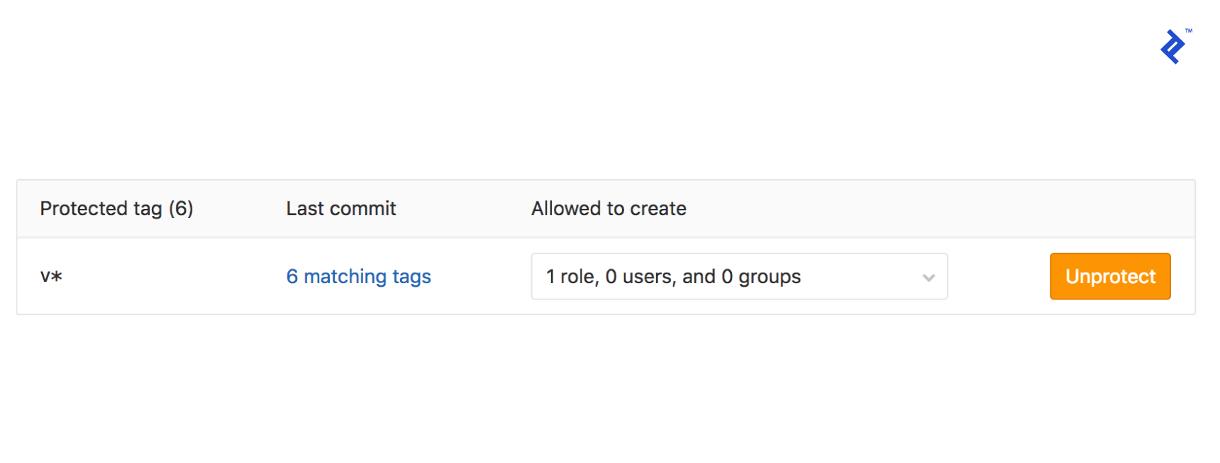 Image of the version tag being added to protected tags in the repository settings page