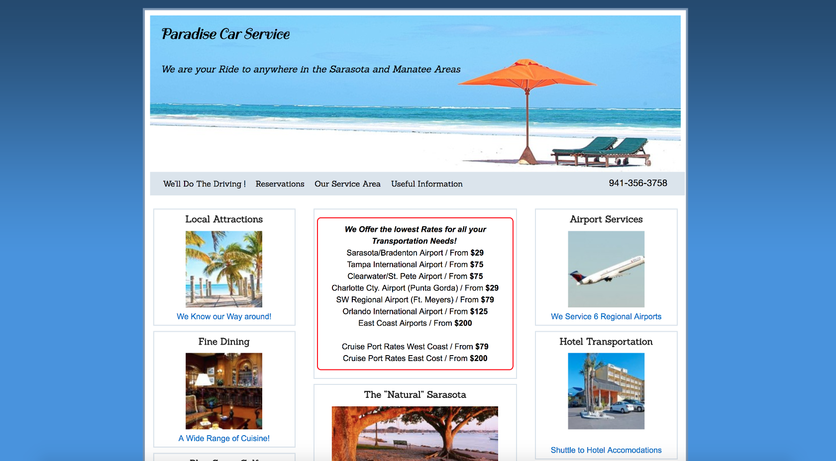 Paradise Car Service keeps the content straightforward on their website.