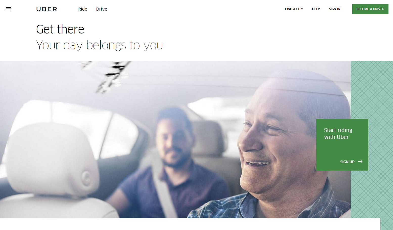 Uber focuses on evoking emotion in their copy and imagery using meaningful design.