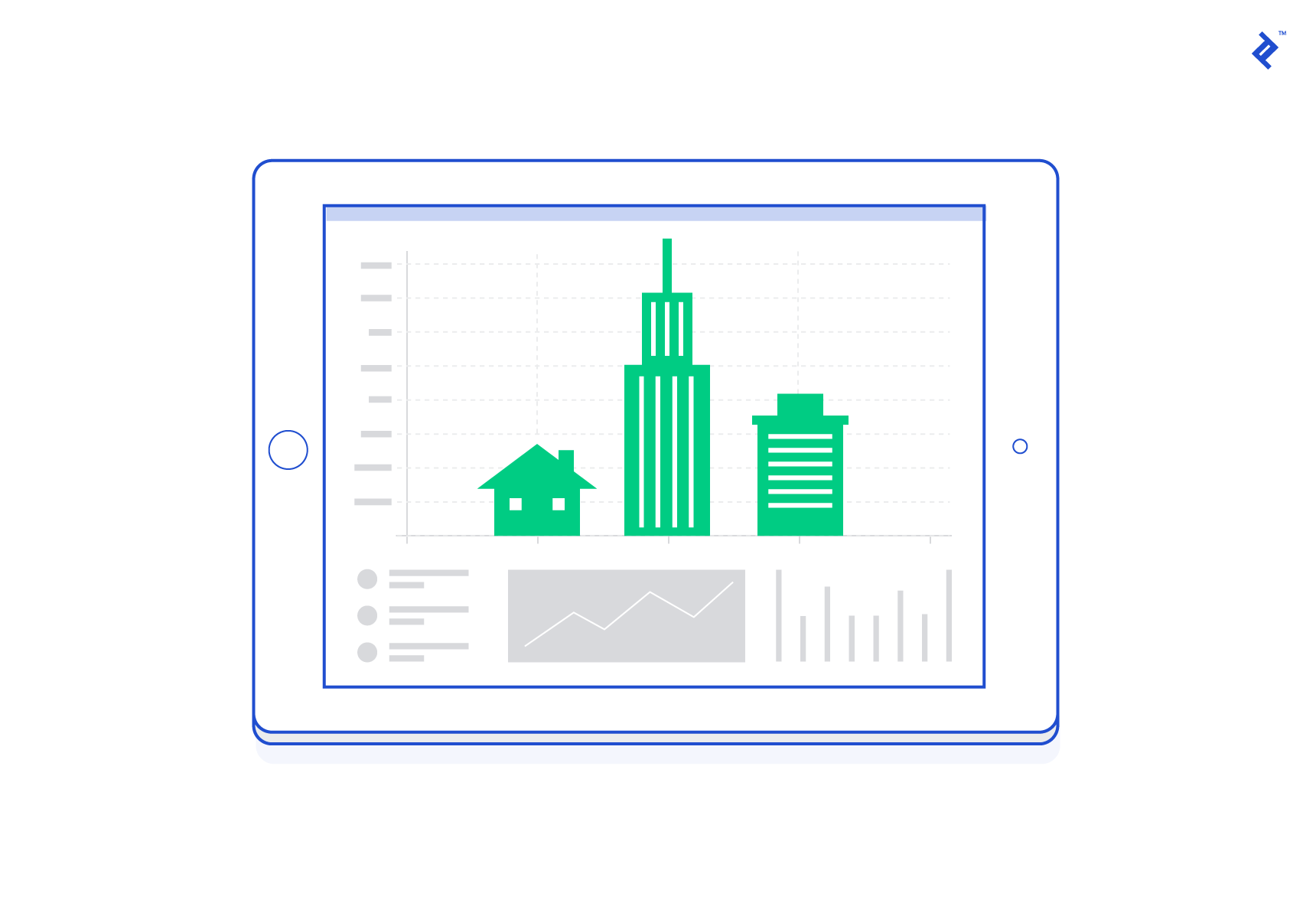 Graphic illustration of a real estate analytics dashboard