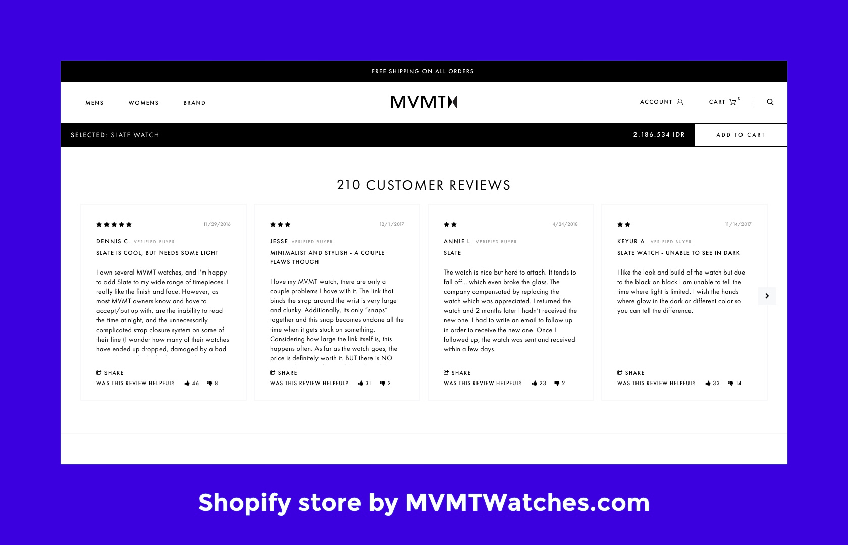 A Shopify store utilizing product reviews as part of Shopify best practices.