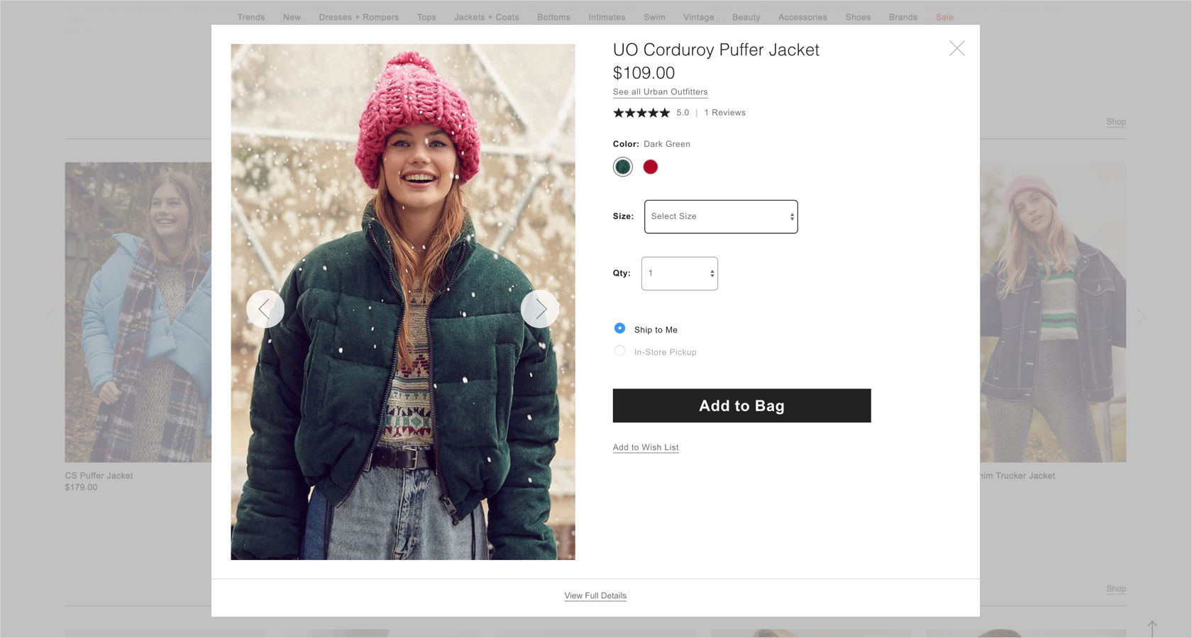 eCommerce design with product quick view