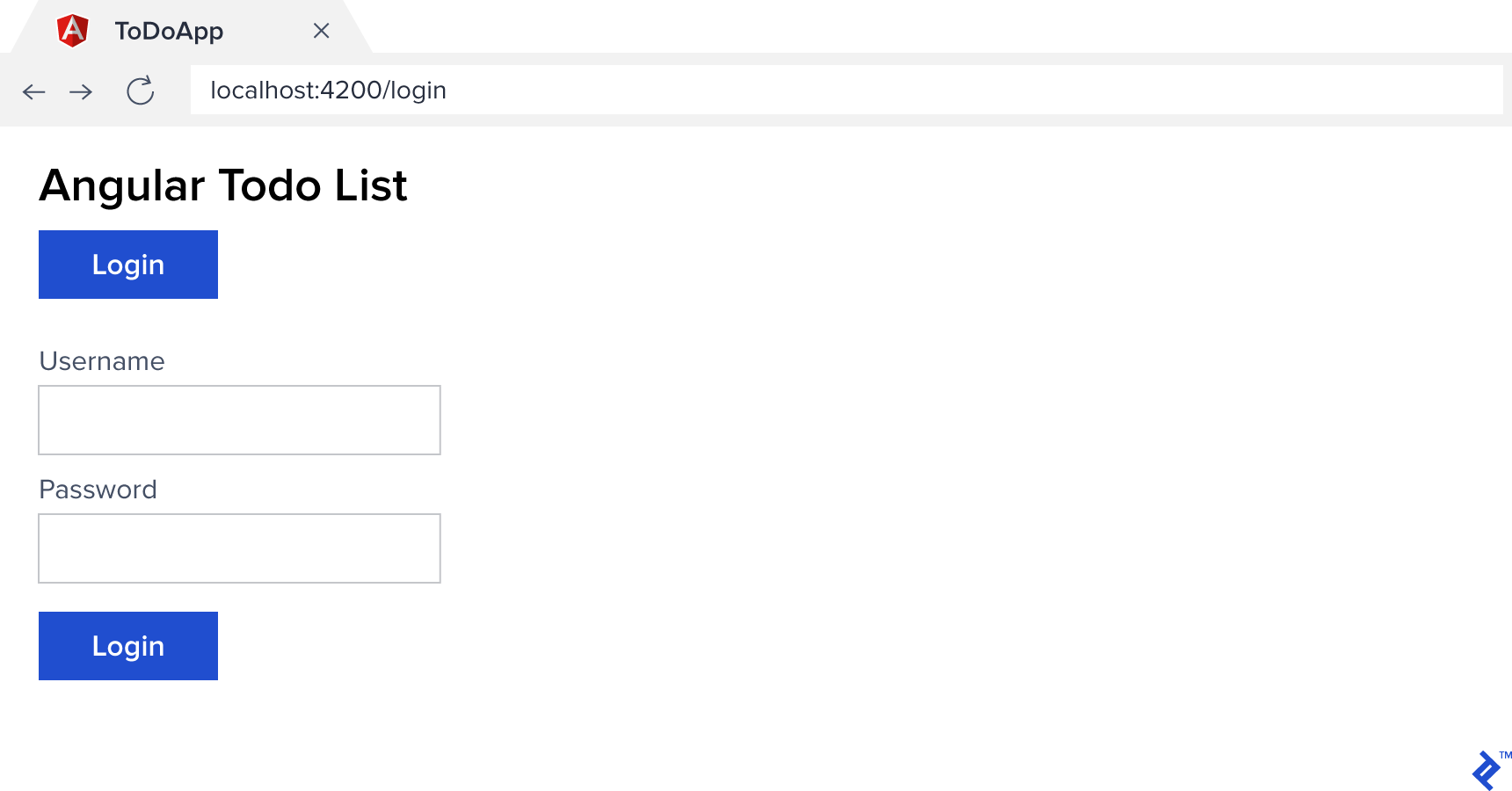 The login screen of our sample Angular Todo List app.