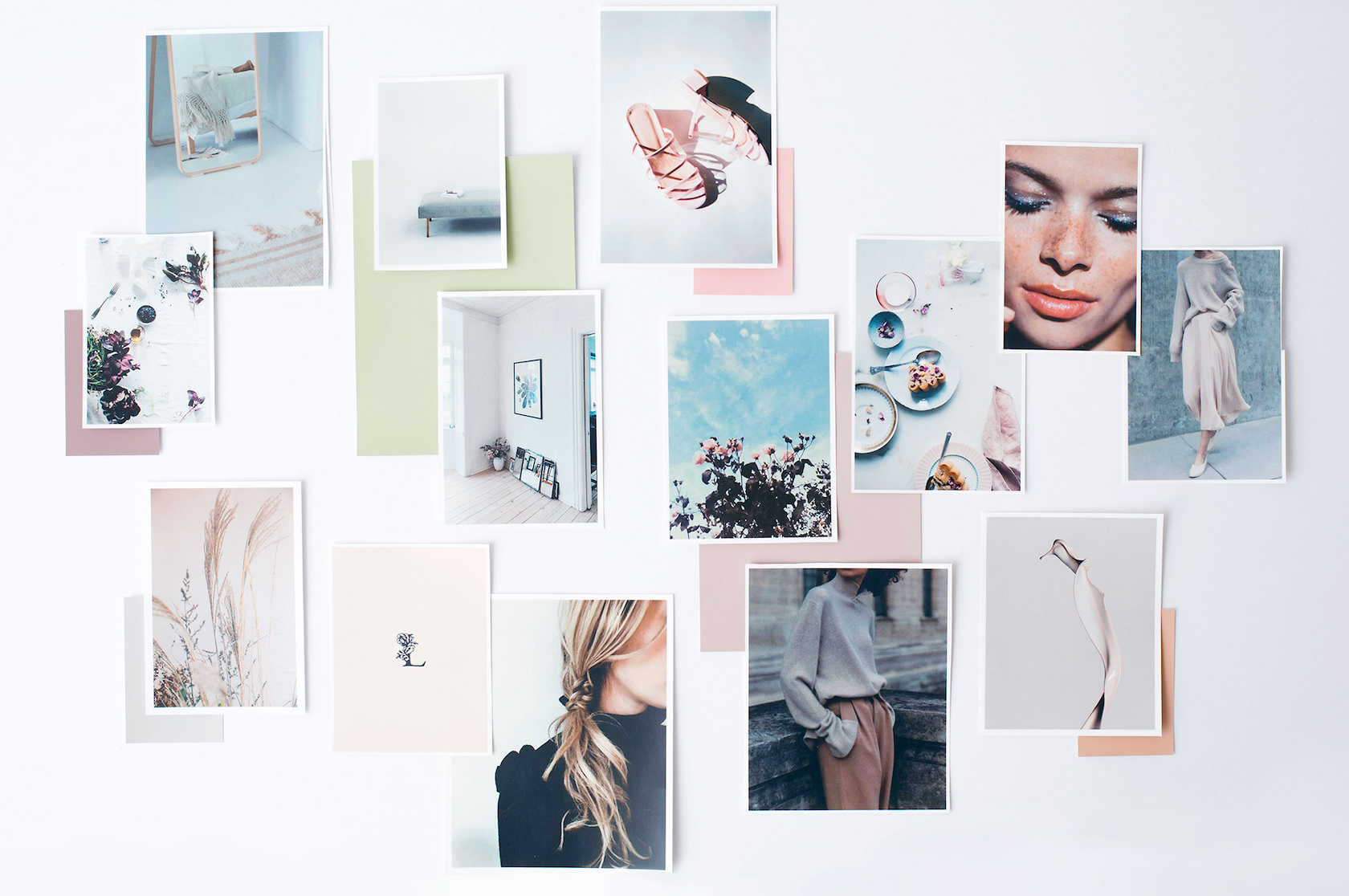 A beautiful physical mood board layout