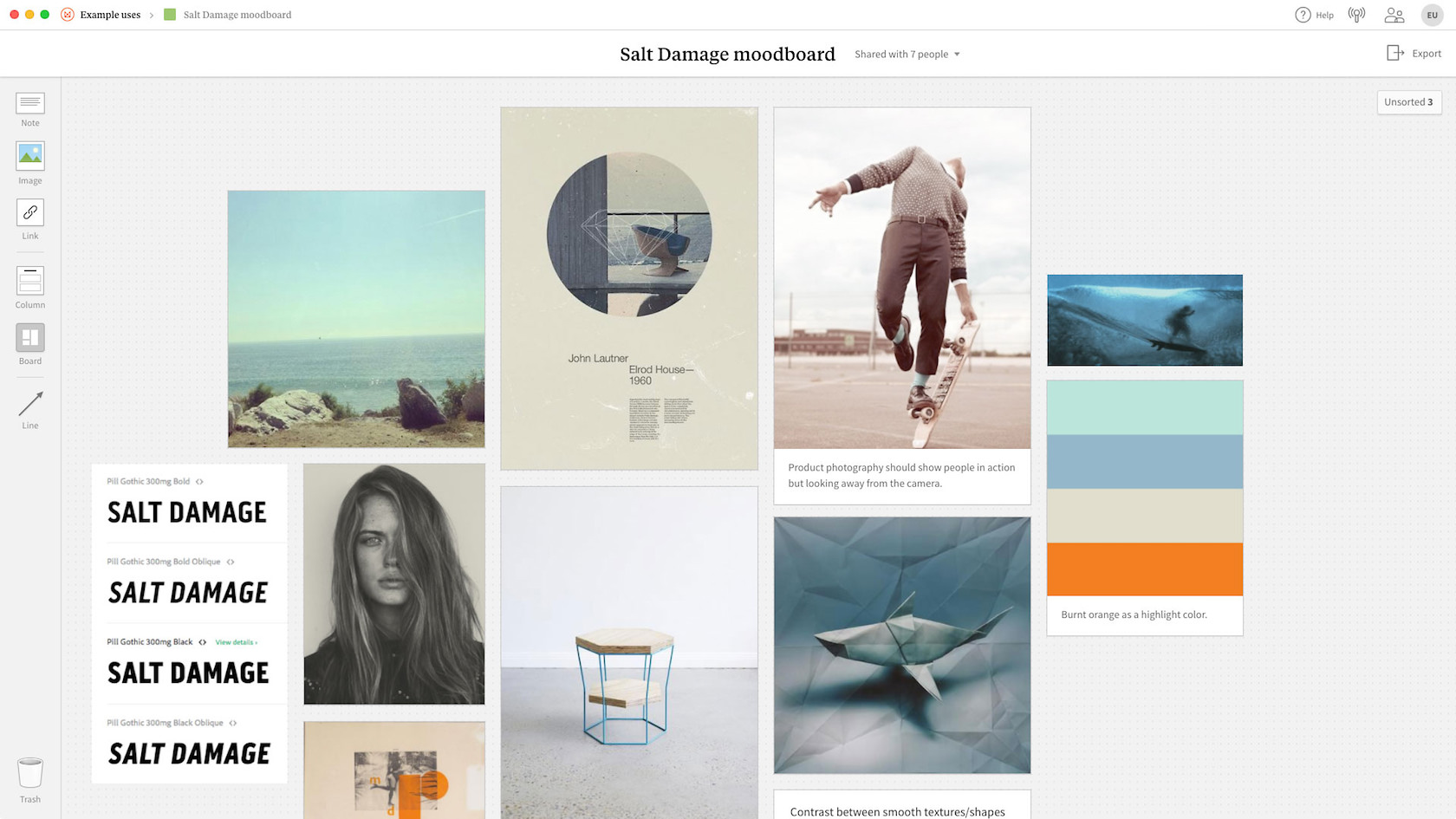 An example of a digital mood board